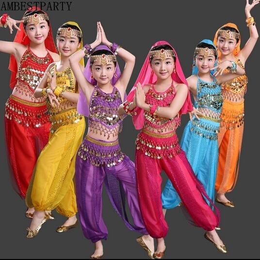 b62a3a627749 2017 Danza Del Ventre Bambini Indiani Set Costume di Danza Bollywood  Costumi Ragazza danza orientale costumi Principessa Vestito India  AMBESTPARTY in 2017 ...