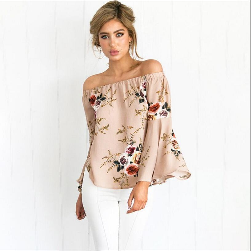 2018 New Off Shoulder Chiffon Blouse Tee Shirt Women Sexy Summer Tops White Print Blouse Casual Flare Sleeve Cool Blouses 6color