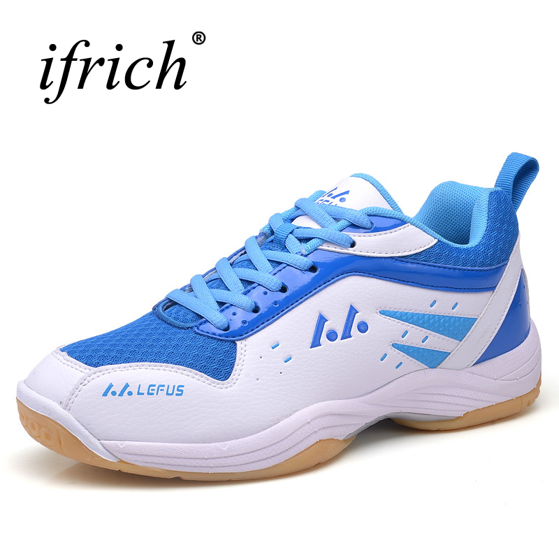 Ifrich Badminton Shoes For Men Women Blue Yellow Couples Sneakers For Tennis Training Anti-Slip Men Shoes For Badminton Sport