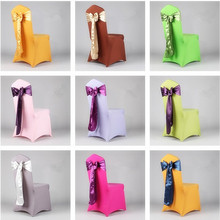 18cm 6pcs Silks satins bandeaus chair sashes satin wedding decoration flower ribbon bow back bandage