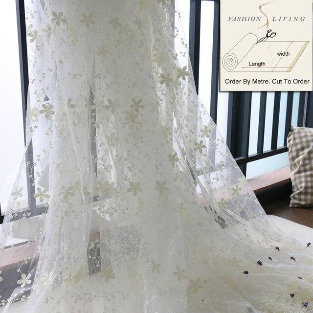 280 cm Brede Witte Bloemen Geborduurde Bloemen Sheer Gordijnstof ...