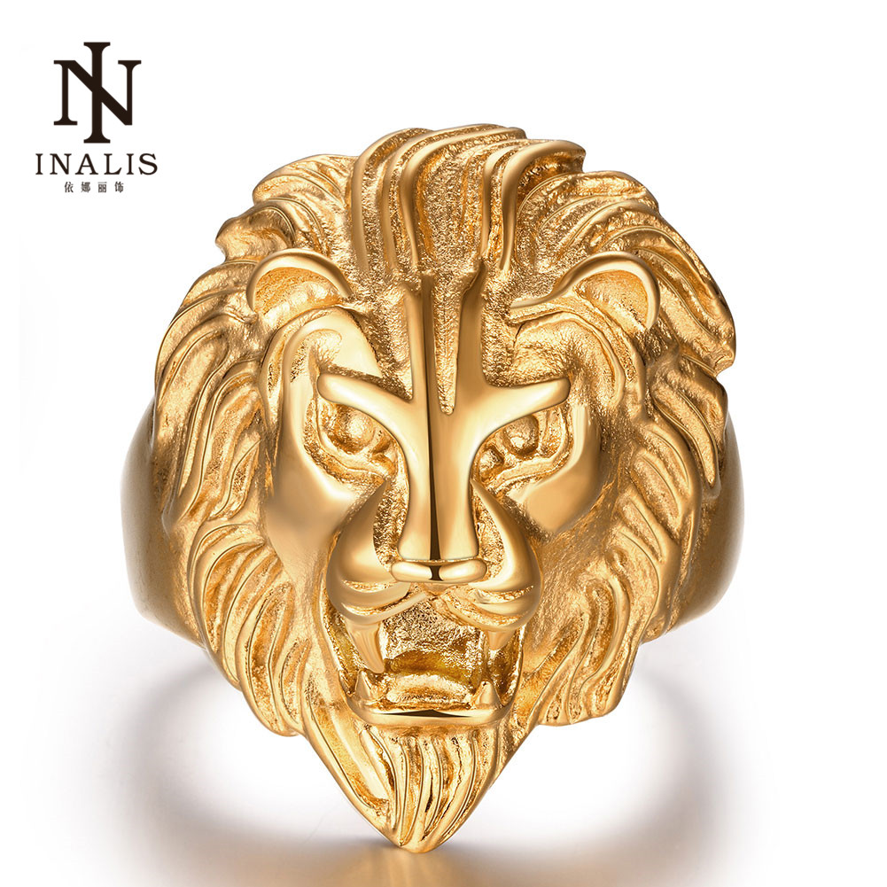 INALIS Male Rings Gold Lion Power Punk Style Cool Jewelry Fine Gift for Men Stainless Steel