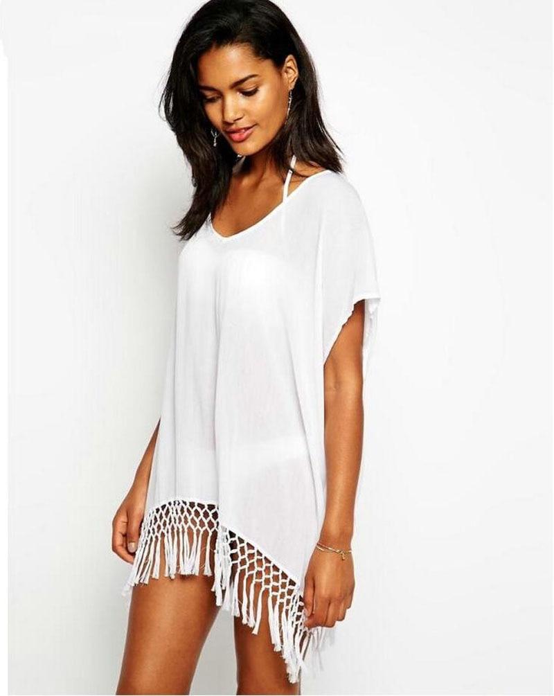 קיץ שמלת חוף סקסית עם הגדילים Pareo Beachwear טוניקה שיפון לבן שיפון בגד ים בגדי ים בגדי ים טוניקה