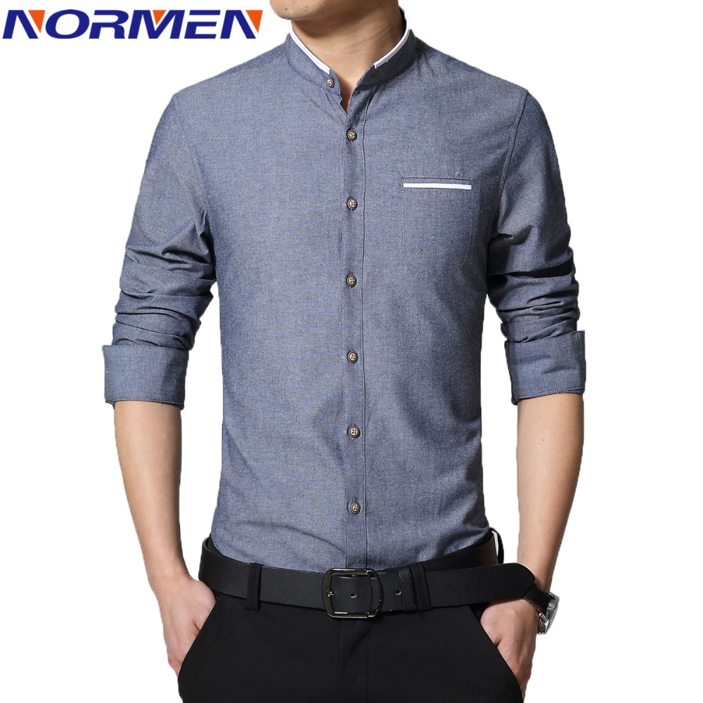 2016 New Brand Men's Casual Shirt Long Sleeve Banded Collar Easy Care Collarless Shirts Slim Fit Dress Shirt For Men Business