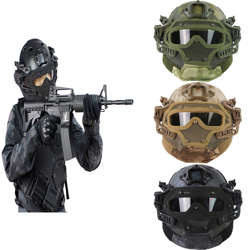 Outdoor Sport G4 System/Set PJ Helmet with Overall Protection Glass Face Mask Multi-function Tactical Airsoft Helmets w/ Goggles tactical wargame motorcycling helmet w eye protection glasses black size l7