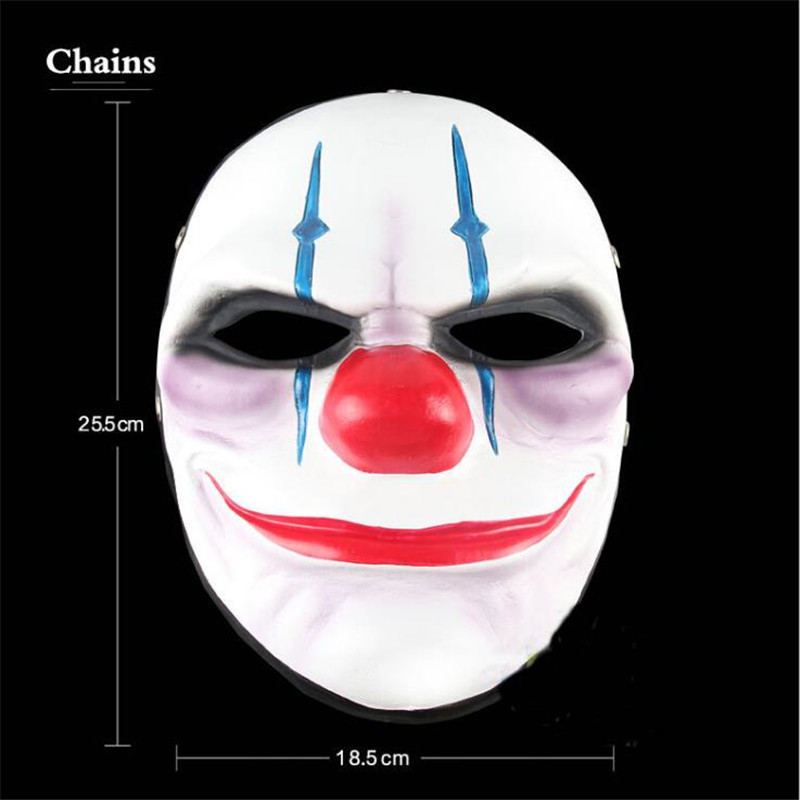 US $24 29 10% OFF|Payday 2 Mask Resin The Heist Dallas/Wolf/Chains/Hoxton  cosplay halloween horror clown masquerade cosplay Carnaval Costume men-in