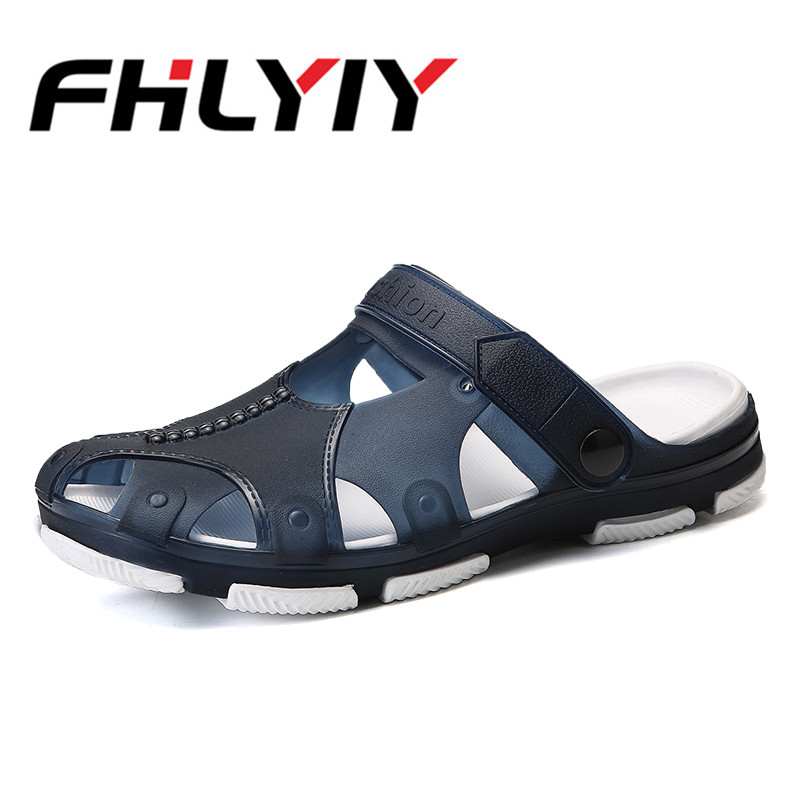 2018 Man Summer Jelly Shoes Men Beach Sandals Hollow Slippers Men Flip Flops Light Sandalias Outdoor Summer Chanclas Breathable