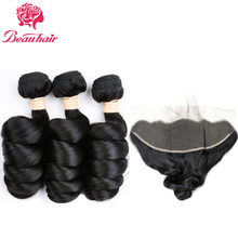 Indian Loose Wave 3 Bundles with 13×4 Lace Frontal Closure 100% Human Hair Bundles with Closure Non-Remy Hair Weave 4pcs/lot