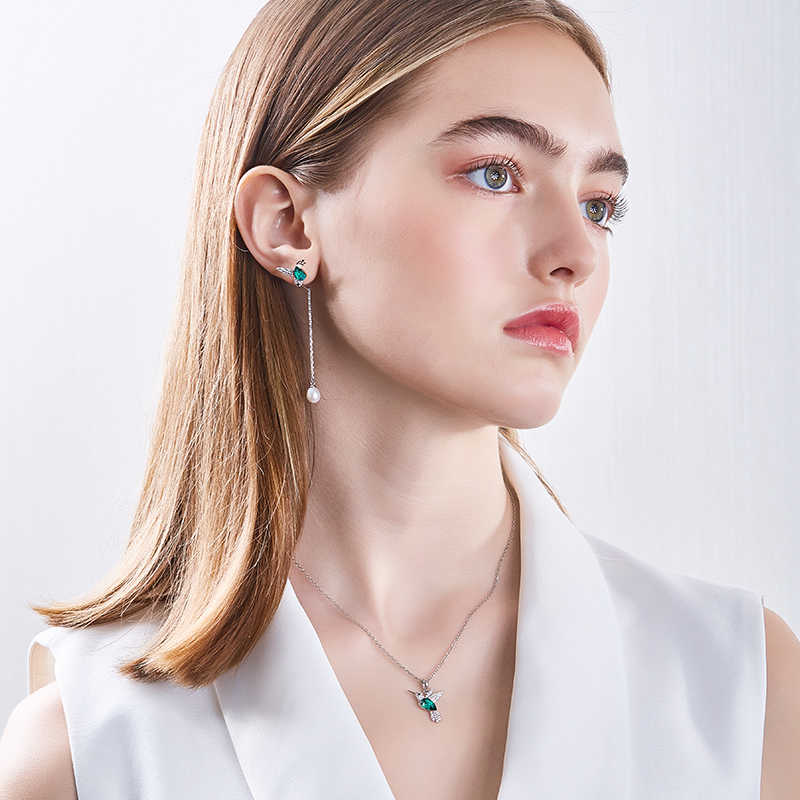 Cdyle 925 Sterling Silber Frau Schmuck Sets Für Frauen Verziert mit kristall Hummingbird Halskette und Earing
