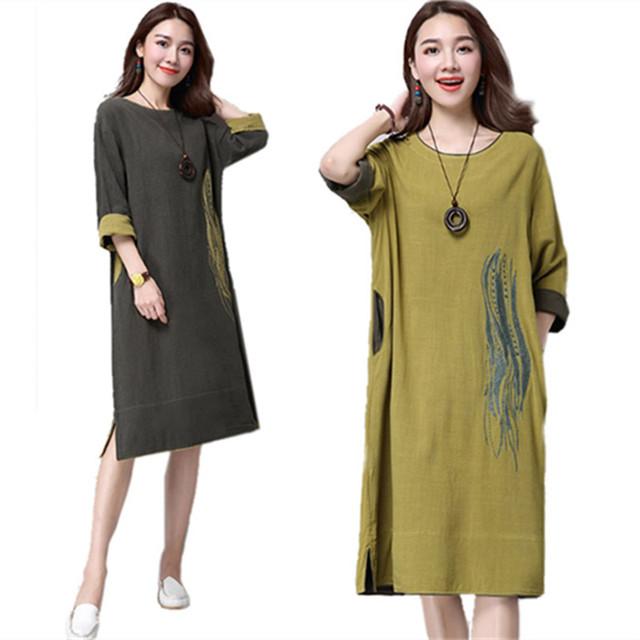 Linen dress vestidos maxi vestidos de algodón de invierno de las mujeres ocasionales flojos más el tamaño de las mujeres ropa larga étnicos dress túnicas de manga larga