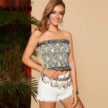 b4ca50776b SHEIN Boho Multicolor Lady Mesh Frilled Trim Shirred Bandeau Crop Top  Summer Beach Sleeveless Strapless Slim Fit Sexy Top