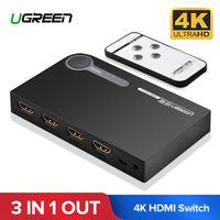Ugreen 3 x 1 HDMI Switch 4K 3 In 1 Out HDMI Switcher for PC Laptop XBOX 360 PS3 PS4 Nintendo Switch 3 Port HDMI Adapter Splitter