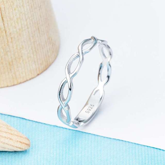 Genuine 925 Sterling Silver Twisted Design Rings Simple Infinity Endless Love Finger Ring Jewelry Gifts For Woman (Lam Hub Fong)