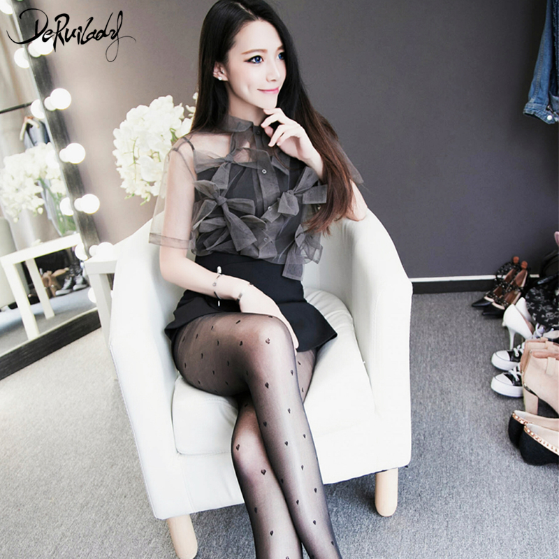 DeRuiLaDy Love Heart Sexy Transparent Pantyhose Black Stockings Fashion Womens Tights Women Sexy Tattoo Tights Hosiery