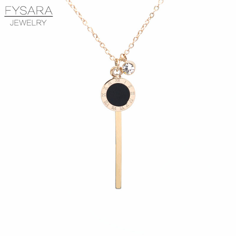 FYSARA Titanium Steel Gold-Color Roman Short Necklace For Women Love Jewelry Classic With Long Strip Pendant Crystal Clavicle