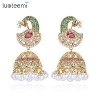 LUOTEEMI Unique Design Big Multi CZ Phoenix Drop Earrings With Imitation Pearls Statement Umbrella Brincos Women