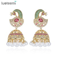 LUOTEEMI Unique Design Big Multi CZ Phoenix Drop Earrings With Imitation Pearls Statement Umbrella Brincos Women