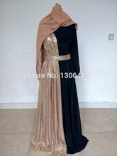 Real Image Musilim Evening Dresses Long Sleeve 2016 Robe De Soiree Sequins Sexy Dubai Kaftan Abaya Prom Party Dresses With Hijab