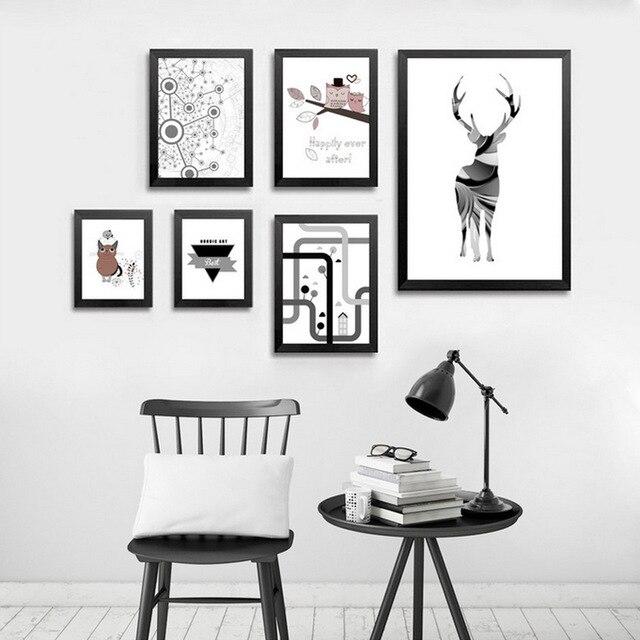 Awesome Nordic Moderne Canvas Art Herten Vogel Geometrische Minimalistische Scandinavische Posters Muur Foto Voor Woonkamer Interieur Geen Plan - Amazing Wall Posters for Bedroom Beautiful