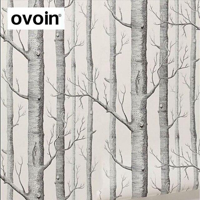 שחור לבן ליבנה עץ טפט חדרי שינה מודרניים עיצוב סלון קיר נייר רול כפרי יער יער טפטים פנינים