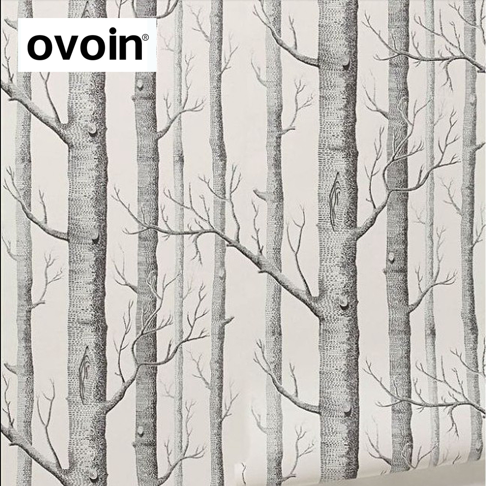 Black White Birch Tree Wallpaper for Bedroom Modern Design Living Room Wall Paper Roll Rustic Forest Woods Wallpapers non woven bubble butterfly wallpaper design modern pastoral flock 3d circle wall paper for living room background walls 10m roll