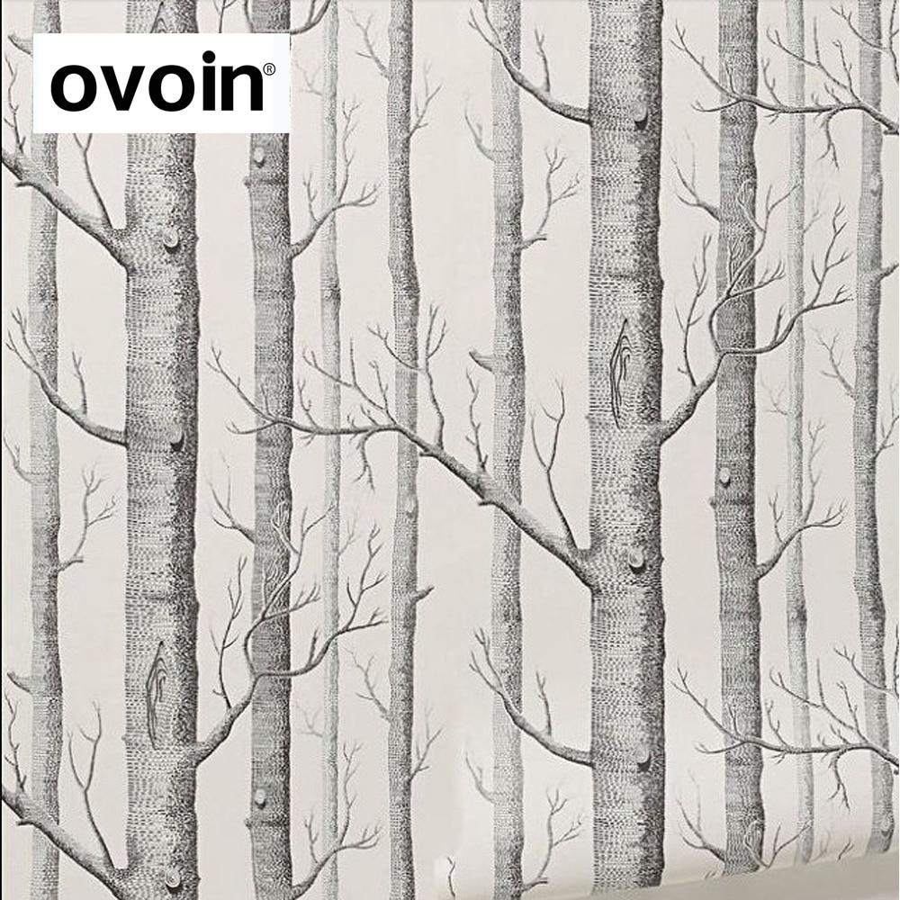 Heatinghereahk Kopen Goedkoop Zwart Wit Berk Behang Voor Slaapkamer Modern Design Woonkamer Wall Paper Roll Rustieke Bos Woods Wallpapers Prijs