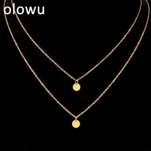 Креативная Мода, Двухслойное ожерелье, изысканная Золотая, круглый слой из нержавеющей стали, ювелирное изделие для женщин, Рождественский подарок