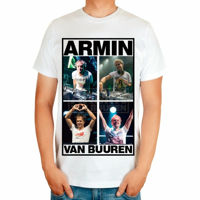 4 tipos Armin Van Buuren marca hombres del cantante DJ blanco MMA impresión algodón  camiseta música 3caf298beca
