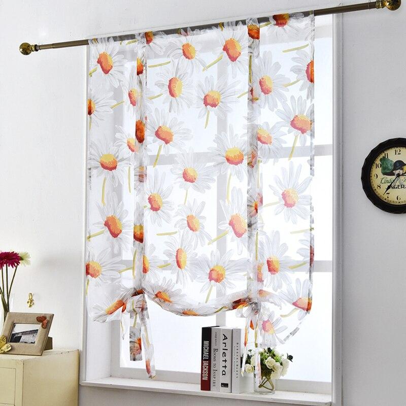 Aliexpress Com Buy Kitchen Short Curtains Window: Kitchen Sheer Roman Window Curtains Voile Floral Flower Modern Style Door Tulle Panel Short