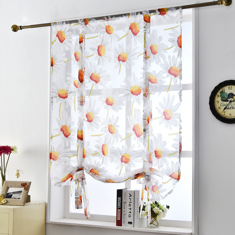 Kitchen Sheer Roman Window Curtains Voile Floral Flower Modern Style Door  Tulle Panel Short Curtains Short  Kitchen Door Curtains