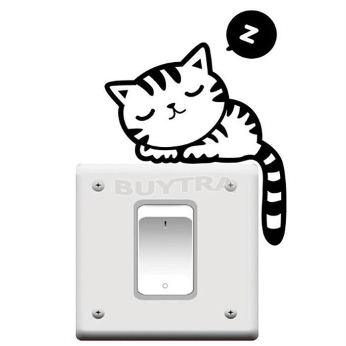 Hot New Removable Funny Cat Switch Stickers Art Vinyl Decal Home Decor Wallpaper