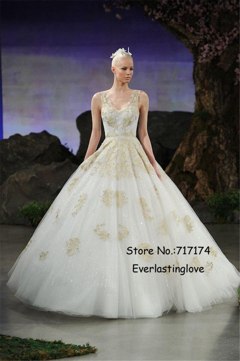 Vneck Crystal Ball Gown Gold Applique Wedding Dress Sequined Vestido De Noiva Beading Cover Button Bridal Vernassa: Gold Applique Wedding Dress At Reisefeber.org