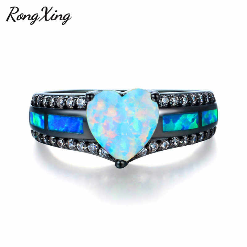 RongXing White Fire Heart Opal Stone Rings For Women Vintage Black Gold Filled Blue Birthstone Ring Fashion Jewelry Gifts RB1352