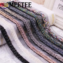 2Yards Pearl Beaded Lace Trim Mesh Ribbon Fabric  Wedding Dress Collar Sleeve Applique Clothes Decor DIY Crafts