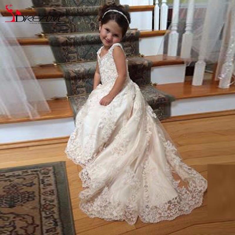 2017 Flower Girl Dresses V Neck Sleeveless Sequins Appliques Tulle Satin Sweep Train Pageant Dresses For Girls Pageant Communion