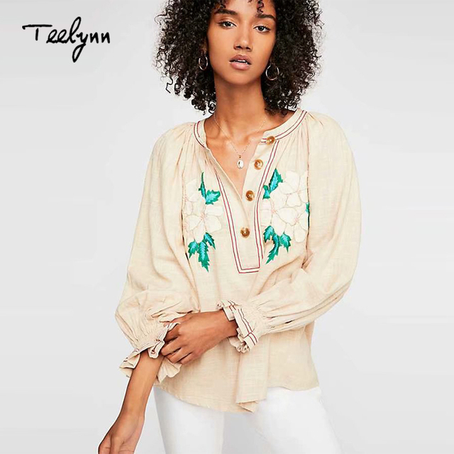 TEELYNN new boho blouse for women floral embroidered puff long sleeve blouses hippie cotton & linen loose shirt blouse Beige top