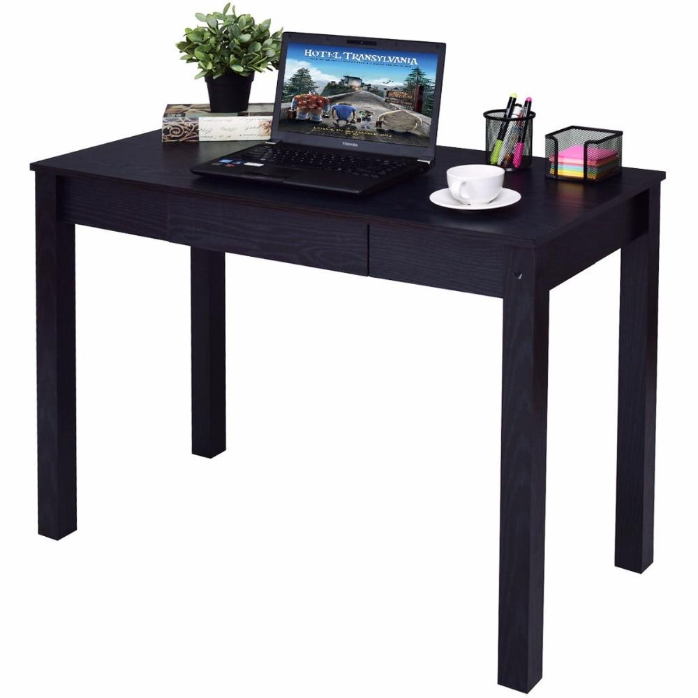 Goplus Black Computer Desk Work Station Writing Table Home Office Furniture Modern Simple Wooden Desktop with Drawer HW54423