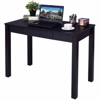 Goplus Black Computer Desk Work Station Writing Table Home Office Furniture Modern Simple Wooden Desktop with Drawer HW54423