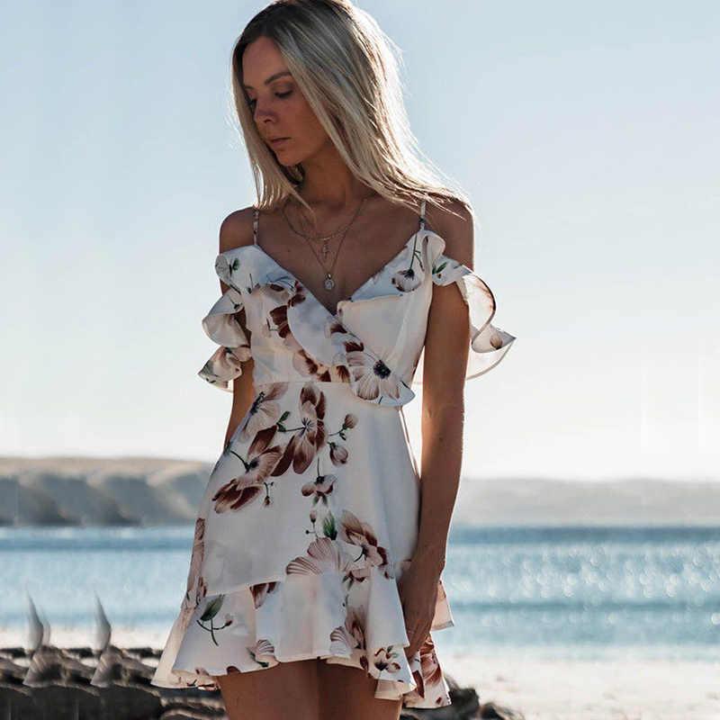 fbb675b0d8400 Летние цветочный принт для женщин шифоновое белое платье рюшами с открытыми  плечами Спагетти ремень женский Туника