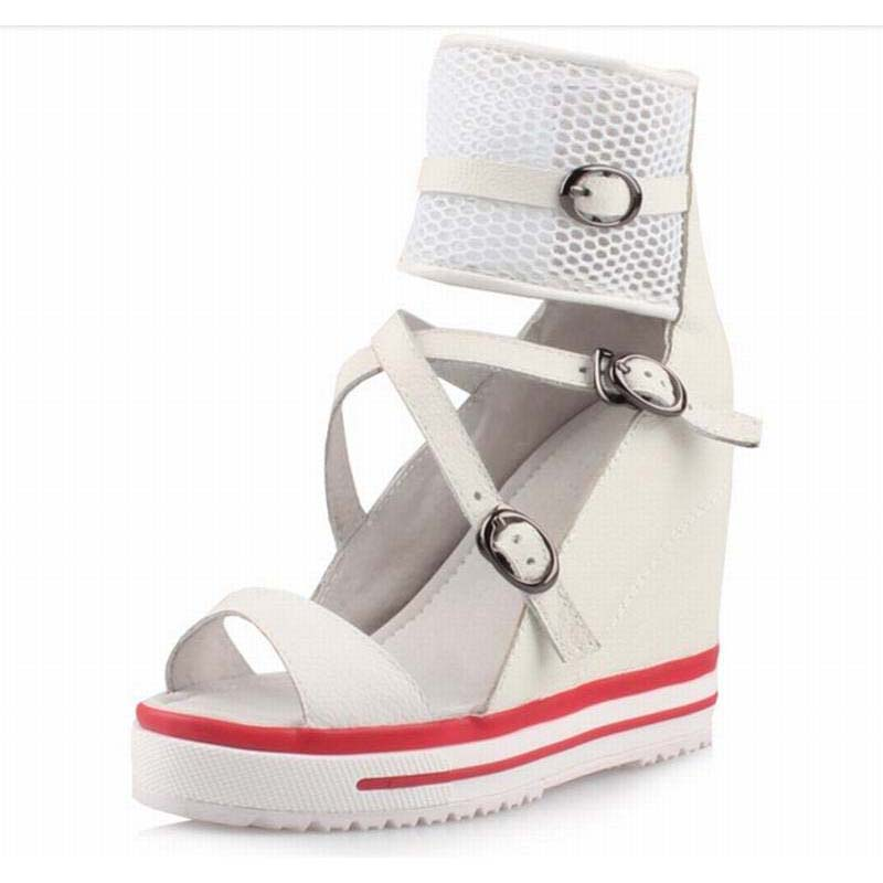 Womens Open Toe Buckle Strap Back Zipper Casual Height Increasing Wedges High Heels Gladiator Sandals Summer Boots Platform Shoe denim zipper hollow worn stiletto womens sandals
