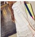 1 unids/lote envío libre del estilo de corea del sol de verano mujer protetion suéter sólido blanco patchwork larga de encaje suéter puntada abierta