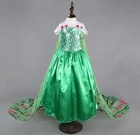 2015 Elsa Fever Green Girl Dress New Elsa Long Queen Princess Dress Spring Autumn Kids Baby