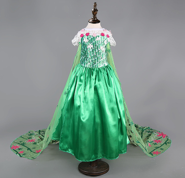 2016 Elsa Fever Green Girl Dress New Elsa Queen Costume Princess Dress Spring Summer Kids Baby Girl Party clothes brand 3-11Y