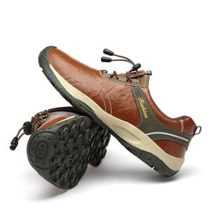 Image 4 - חדש לגמרי עור באיכות גבוהה גברים נעליים חיצוני עמיד למים סניקרס אופנה נעליים יומיומיות שרוכים גברים לופרס גדול גודל 38 46