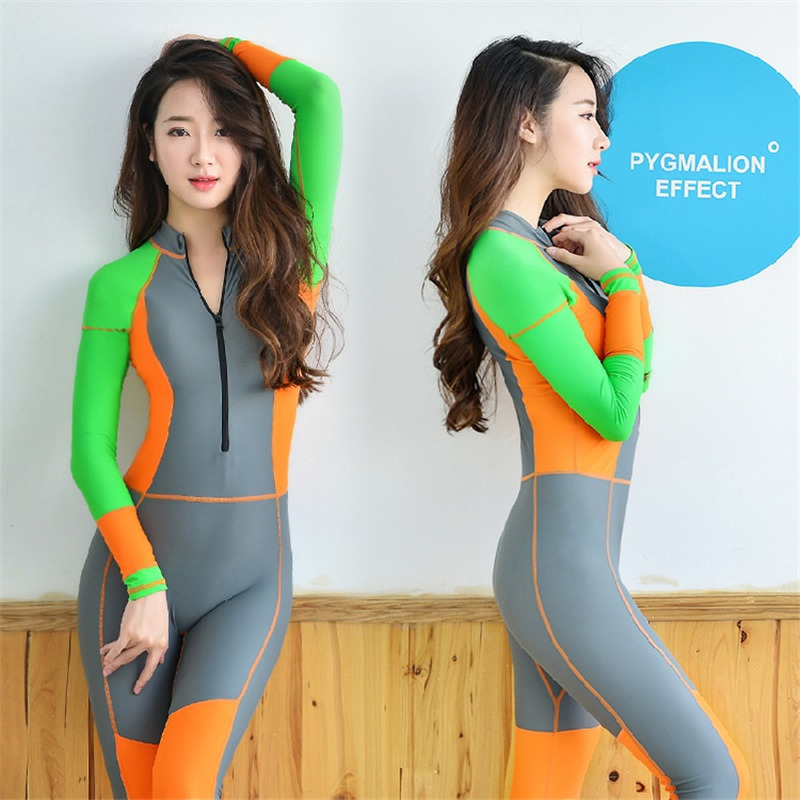 2016 New Youthfulness Women s Sport suit Bodysuit Zipper One Pieces  swimwear Colorful Sexy Female wetsuit swimming Diving suit on  Aliexpress.com  dbb968555