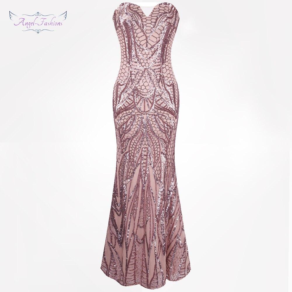 Angel fashions vestido de festa Vintage 1920S Flapper Sequined Mermaid Long Evening Dress Abendkleid Pink 212