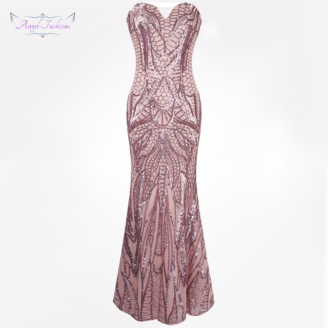 Angel-fashions vestido de festa Vintage 1920S Flapper Sequined Mermaid Long Evening Dress Abendkleid Pink 212