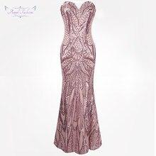 219950041a3aaf Angel-fashions vestido de festa Vintage 1920 S Flapper Lovertjes Mermaid  Lange Avondjurk Abendkleid Roze