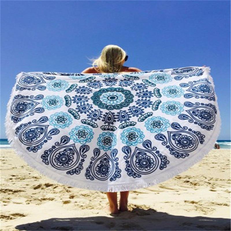 ✔  Плавание у моря Круглое пляжное пляжное полотенце Мандала Гобелен Индийская коврик для йоги Кисточки ①