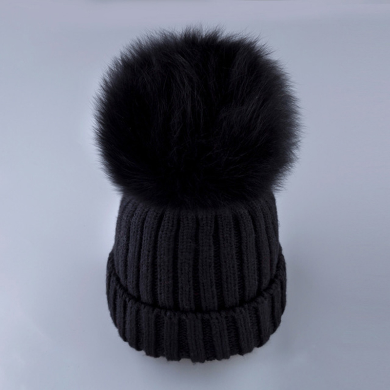 Women Real Fox fur hats fluffy pompon Bobble   skullies   Knitted   beanies   Warm stocking hat autumn winter cap with pumpon female